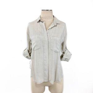 Cloth & Stone- Neutral Tencel Button Down Shirt S